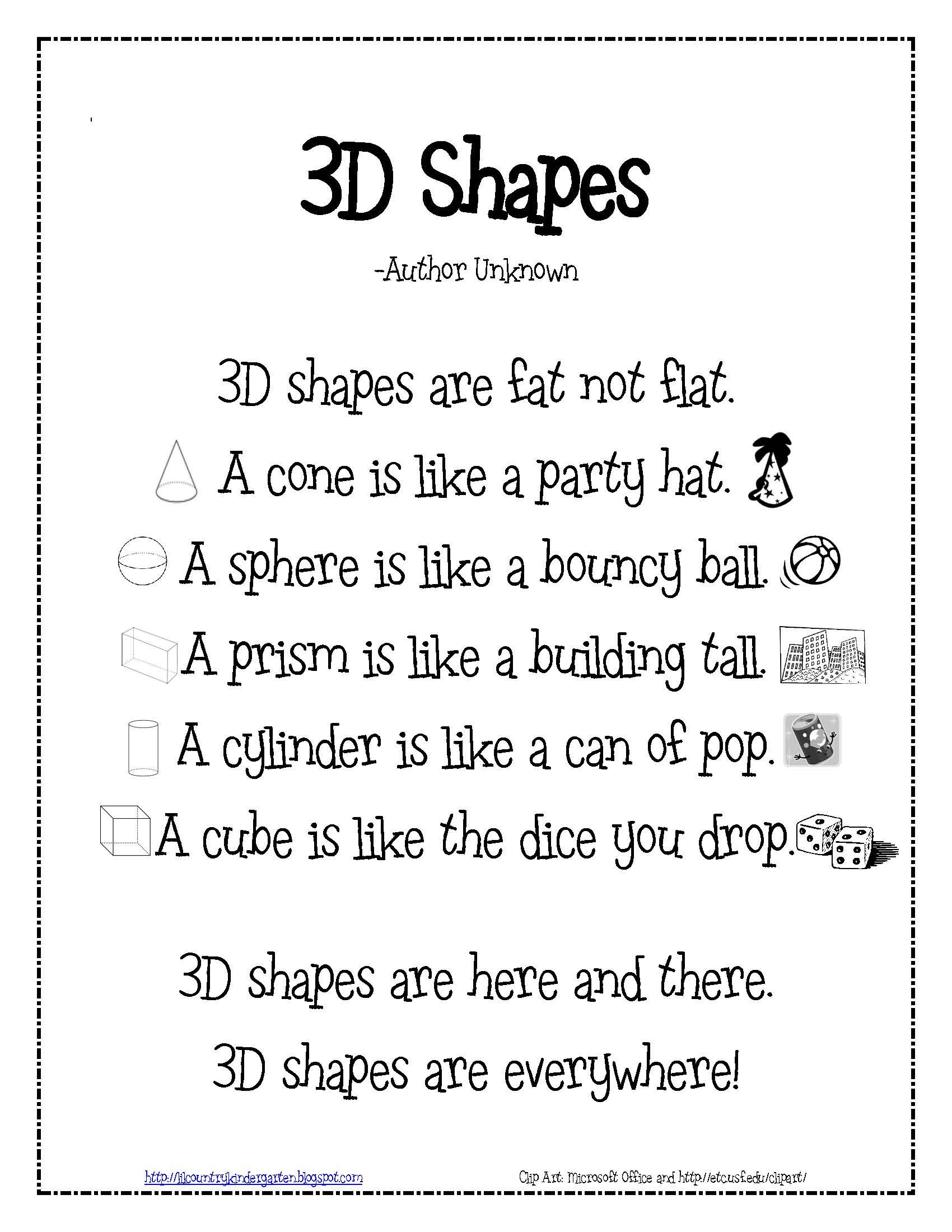 3D Shapes Poem for teaching math to little ones