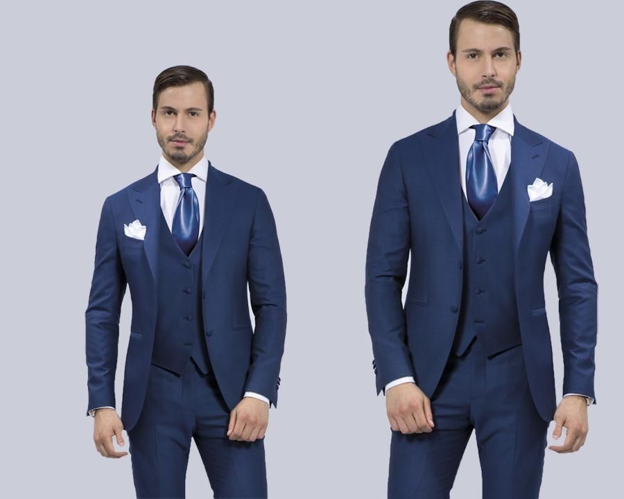 Sheath Peakeded Lapel Royal Blue Groom Tuxedos Haut Men Wedding ...