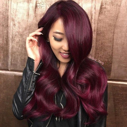 Long Bright Burgundy Hair More