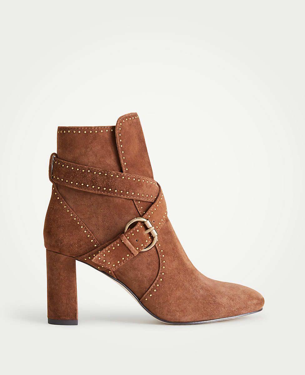 f78360780c6 Presley Stud Suede Block Heel Booties