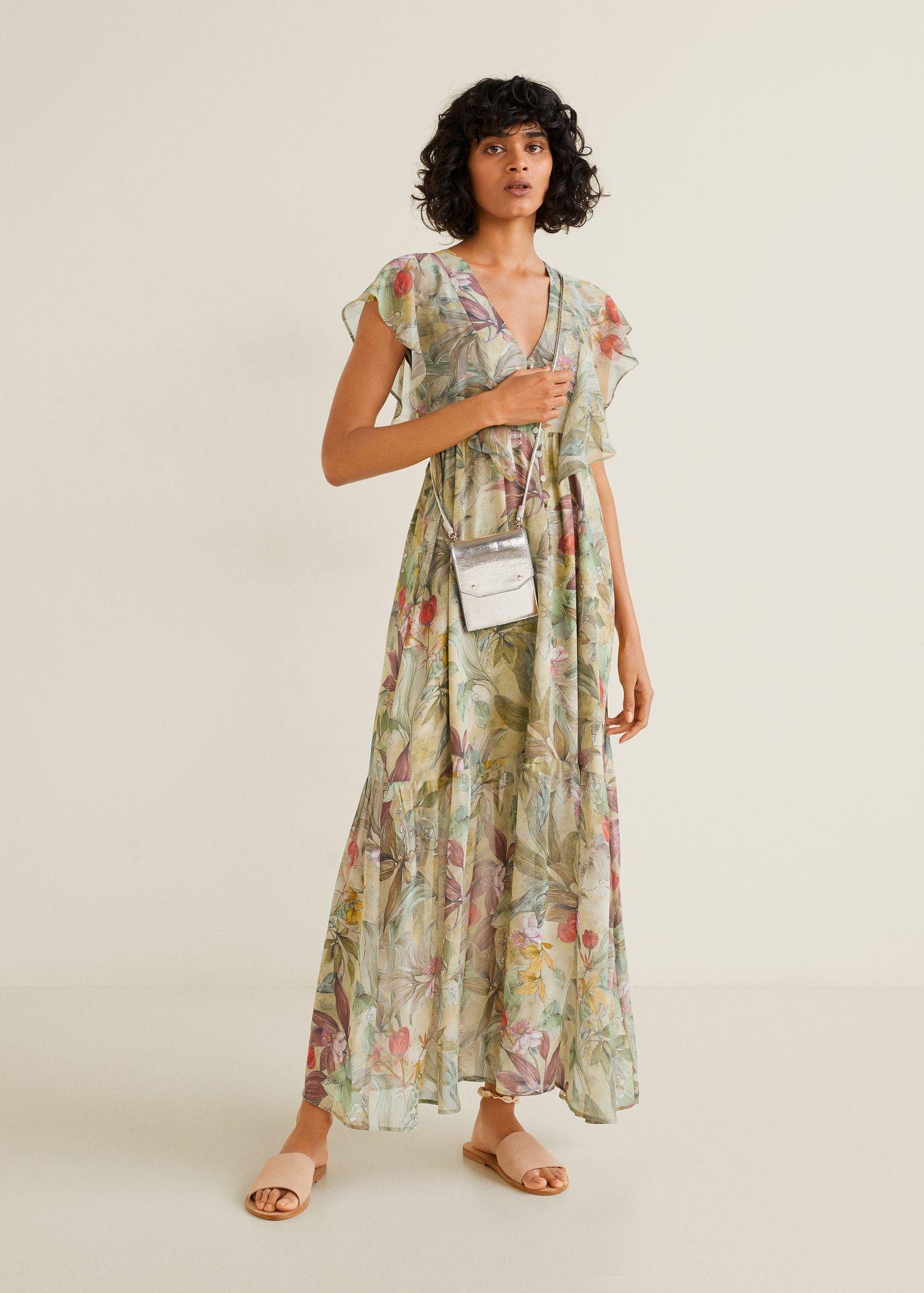 Vestido gasa flores - Mujer  Mango España  Blumenkleid lang