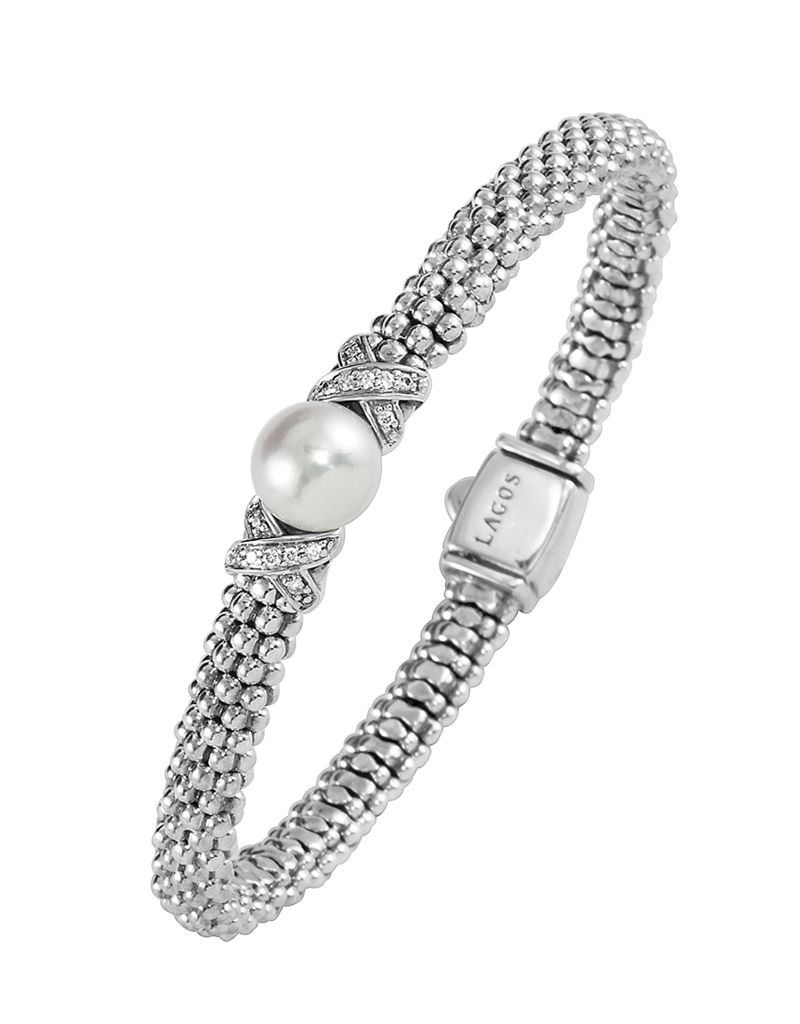 Pearl and diamond bracelet from the luna collection lagos jewelry