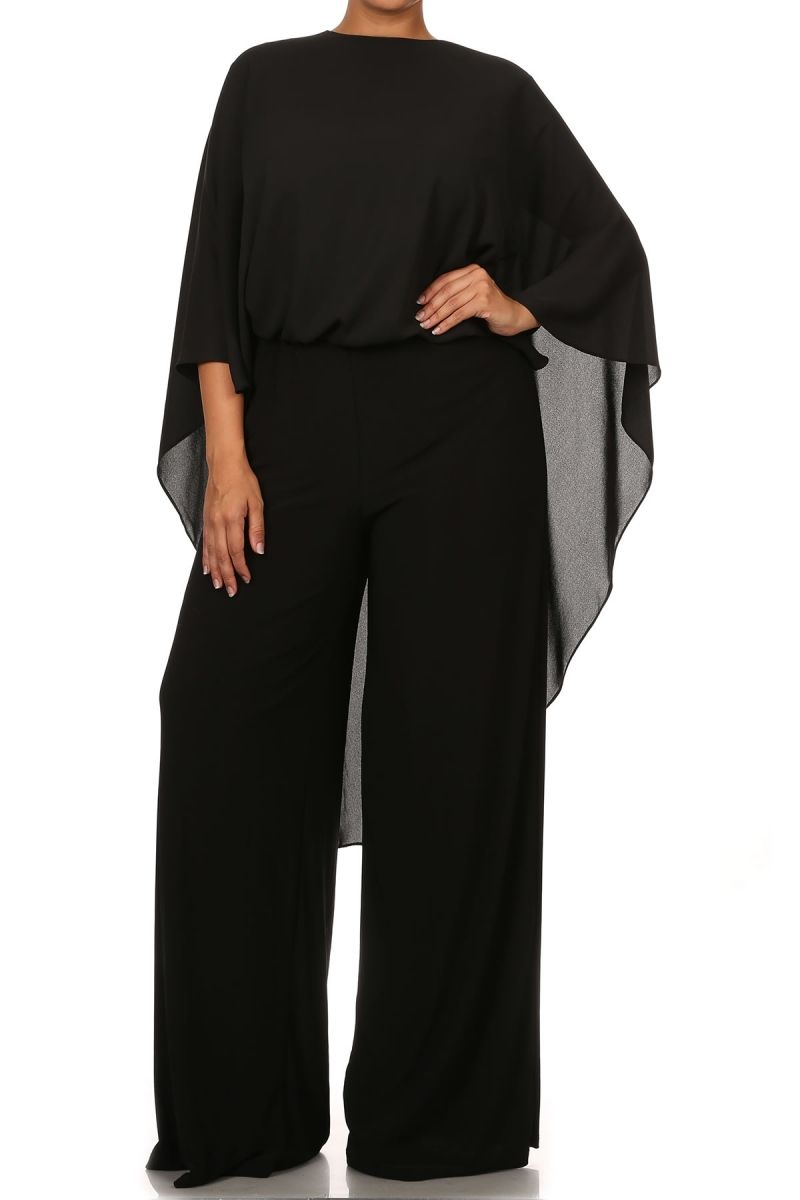 5617a3c360e Black Solid Full Length Flutter Sleeve Jumpsuit