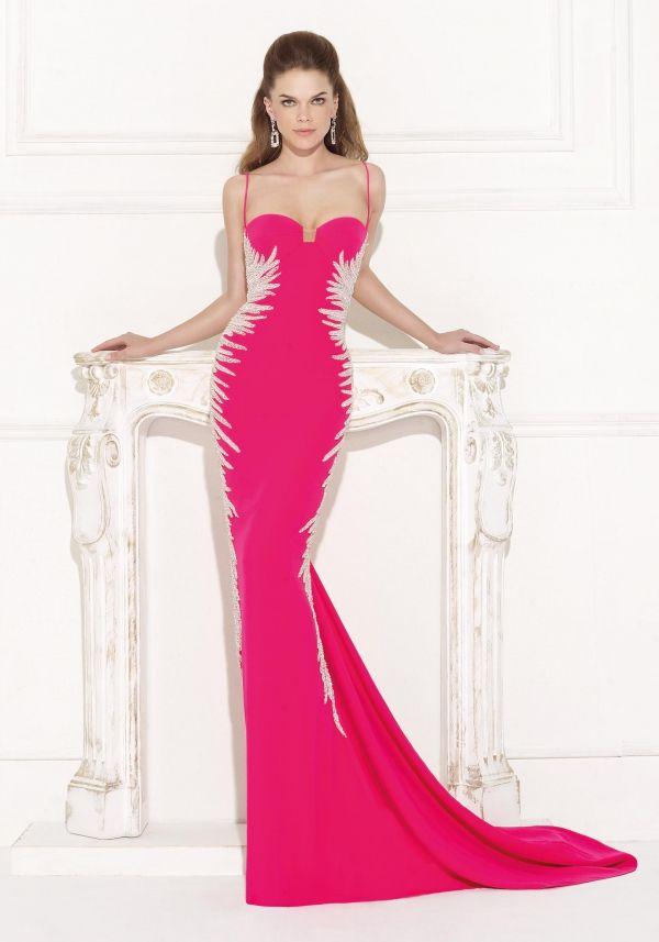 Marilyn: glamoroso traje de noche en fucsia con costados bordados en ...