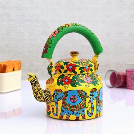 Kaushalam Elephant Tea Kettle Yellow And Blue Buddha Art Painting Kitchen Decor Wall Art Tea Art