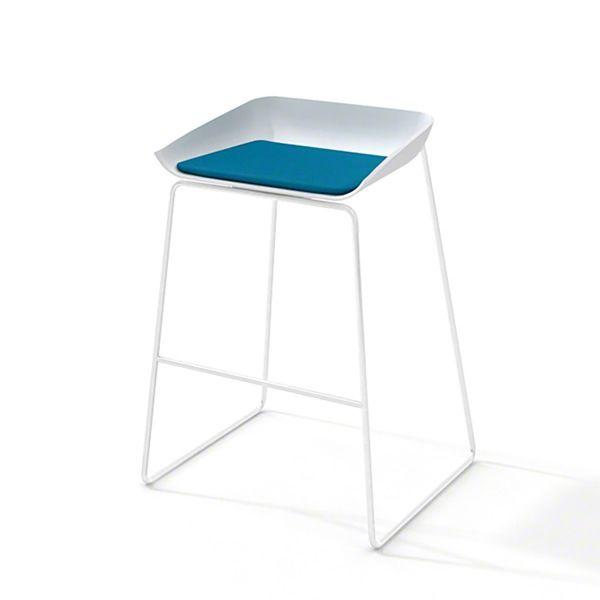 Scoop Bar Stool, Pool Blue Seat, White Frame,Pool Blue