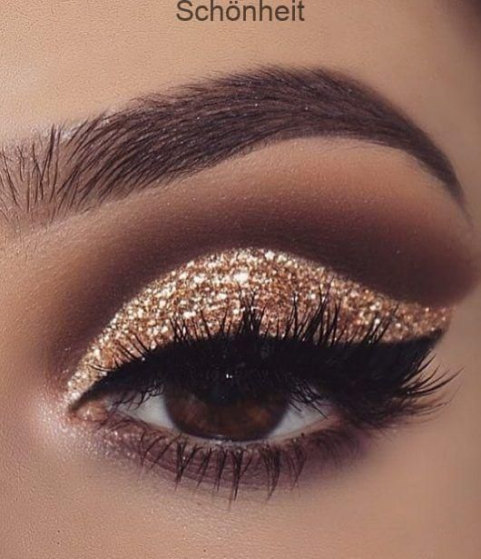 Gold-Glitzer-Lidschatten; Make-up-Tutorial; Make-up für braune Augen; Make-up f...