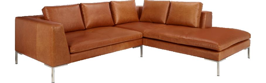 Montino 2-Sitzer-Sofa aus Leder, Chaiselongue rechts (www.habitat ...