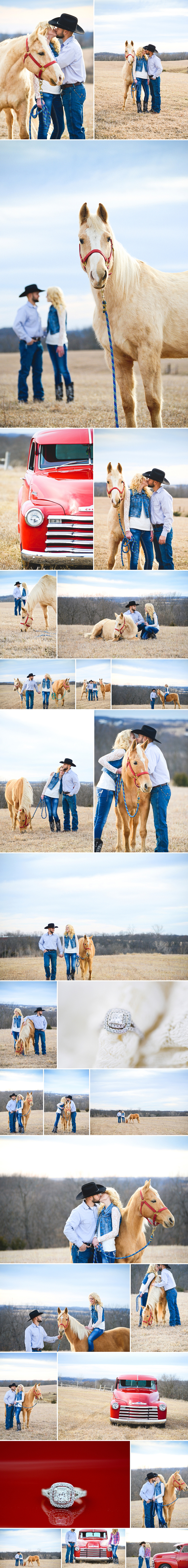 Country Engagement Pictures, horses in engagement pictures, cowboy and cowgirl, what to wear to your country engagement shoot, 1950's chevy truck, rustic engagement picture ideas, engaged, farm, palominos in your pictures, plaid and cowboy hat, lace, western photo shoot, inspiration for country engagement