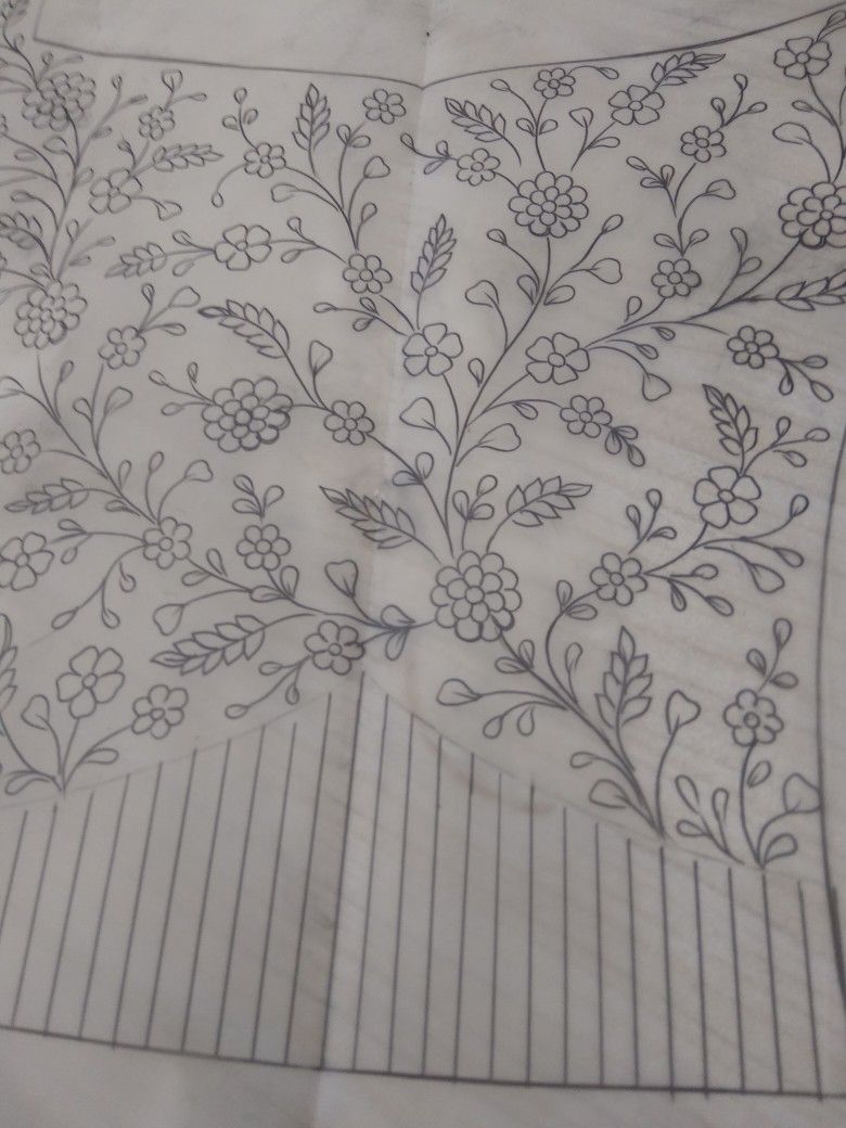 Floral Design All Over Pattern Design Drawing Flower Drawing Design Border Embroidery Designs