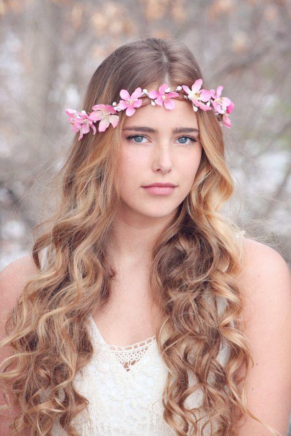 Pink Flower Crown Wedding Headpiece Bridal Headband Accessories