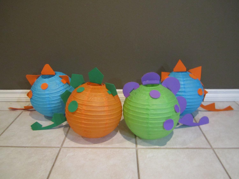 Dinosaur paper lantern decoration kit pick your by for Dinosaur decor