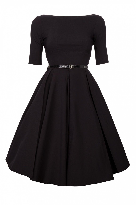 Black dress retro - Black Hepburn Full Circle Retro Shift Dress