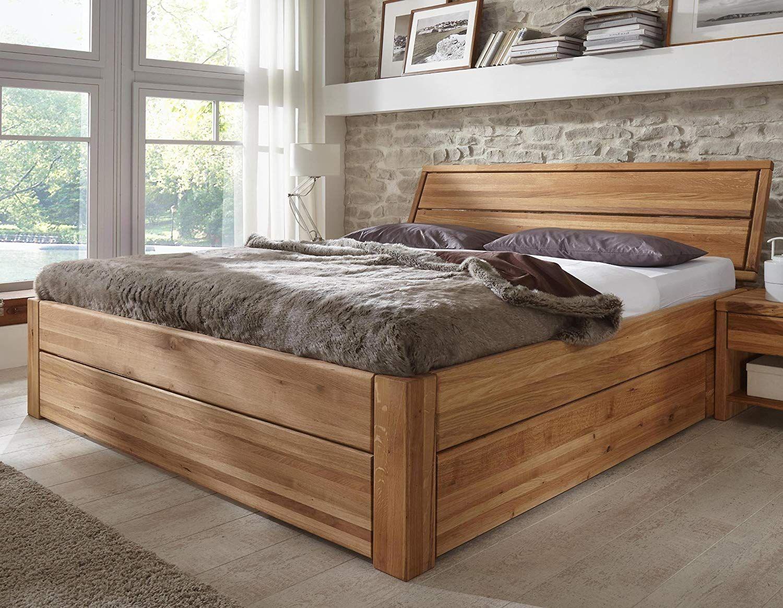 Stilbetten Bett Holzbetten Massivholzbett Tarija Mit Stauraum Eiche Geolt 160x200 Cm Amazon De Kuche Haushalt Bedroom Bed Design Bed Design Bed
