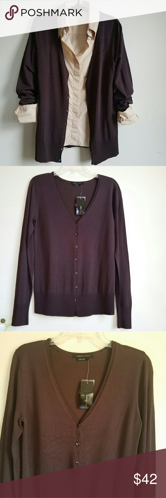 BCBG MaxAzria Chocolate Brown Boyfriend cardigan NWT | The long ...