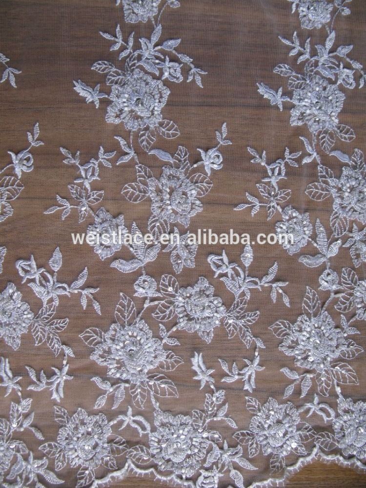 74058f93e6 Beaded Lace Fabric | crystal tulle fabric/ivory beaded lace fabric ...