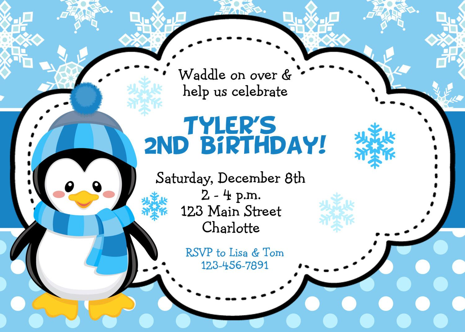 Penguin birthday party invitation winter birthday invitation penguin birthday party invitation winter birthday invitation blue penguin you print or i print by thebutterflypress on etsy filmwisefo