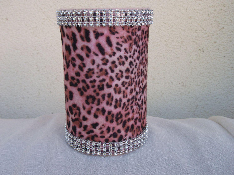 Pink and Brown Cheetah Print with Rhinestone Trim Pencil