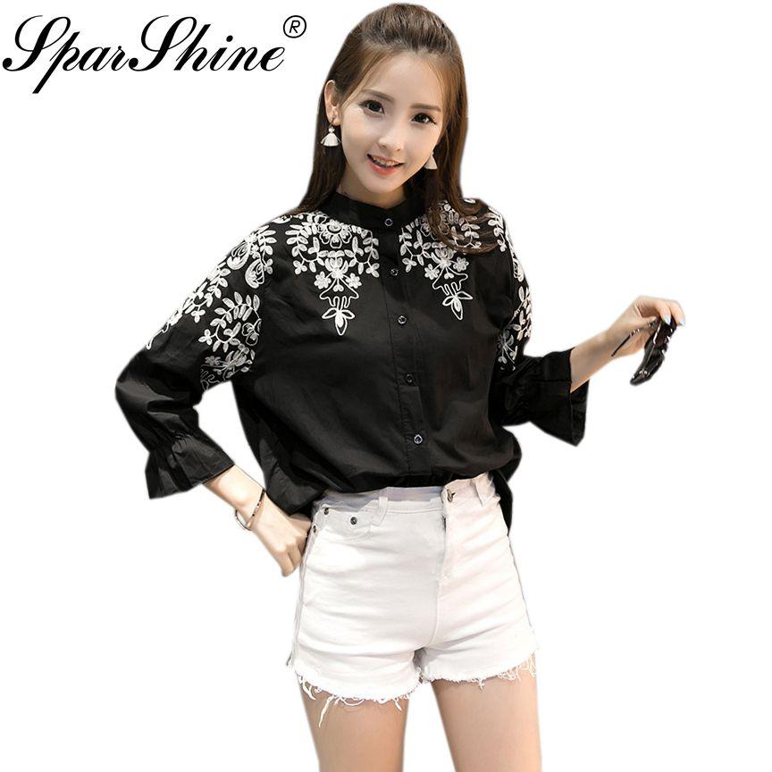 d696a963f0 Blusas Embroidery Blouse Shirt Women tops Camisas Femininas White Black  Embroidered 2017 5XL Cotton Linen plus