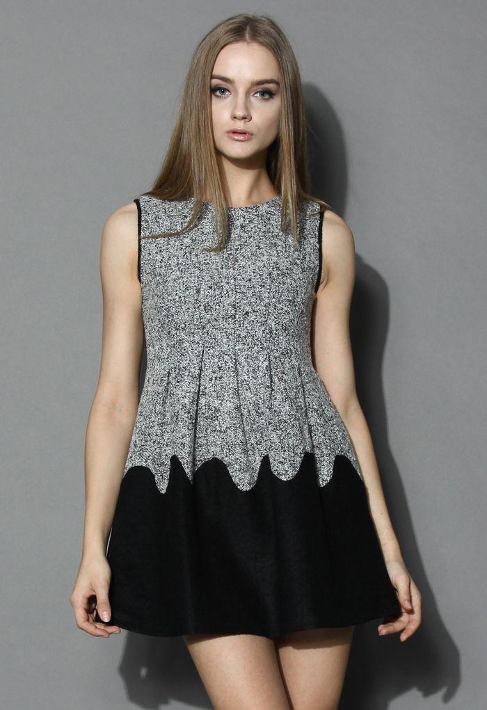 Grey & Black Wool Dress