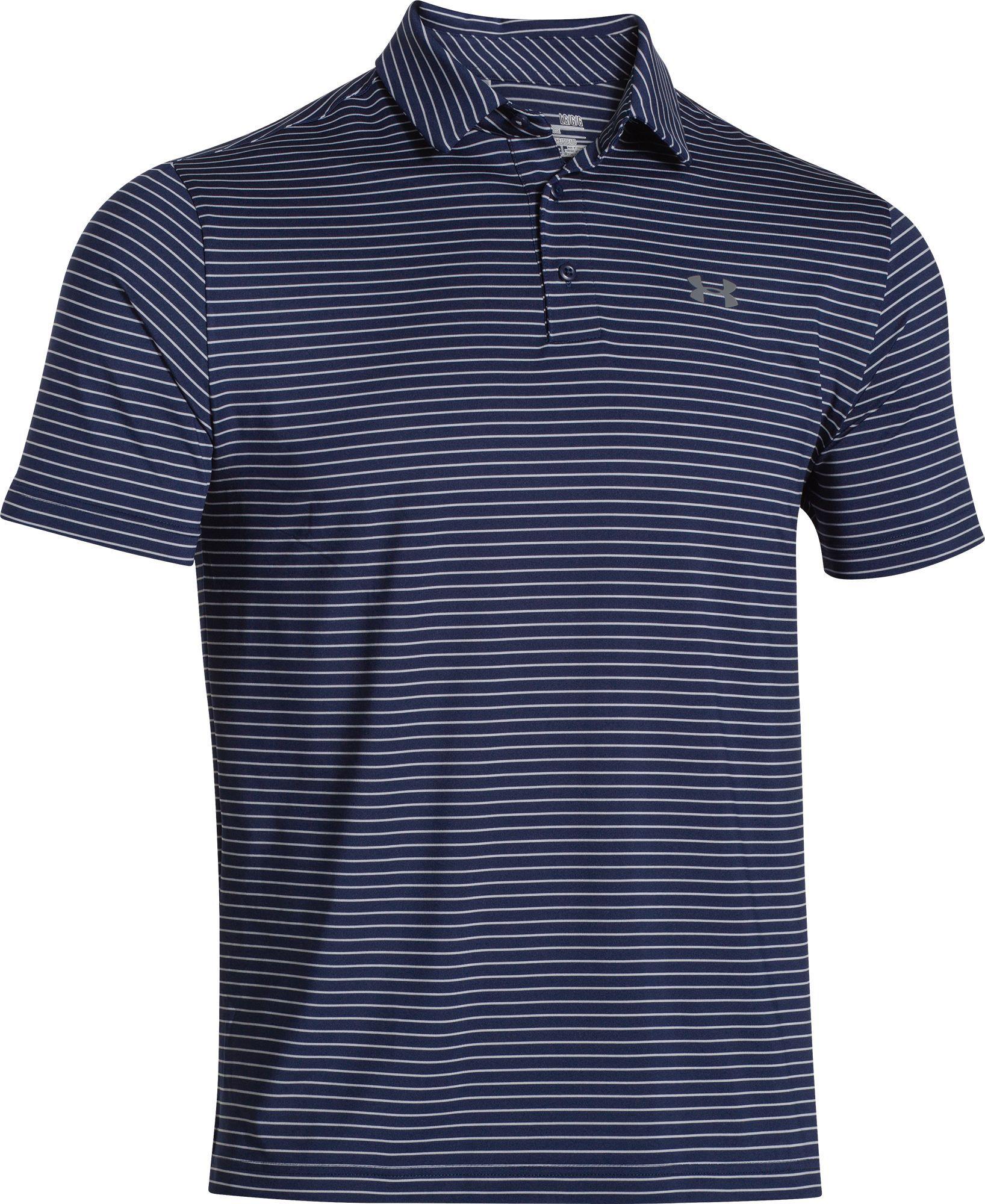 871021c9 Under Armour Men's Playoff Heather Stripe Golf Polo, Size: Medium, Academy