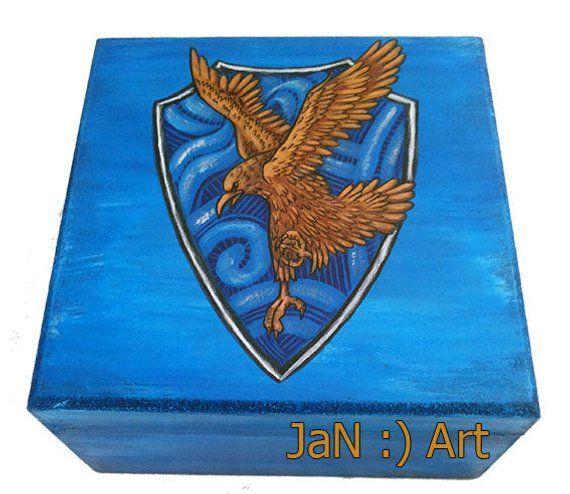 Harry Potter World Wedding: Ravenclaw Book Box Hand Painted Harry Potter Hogwarts