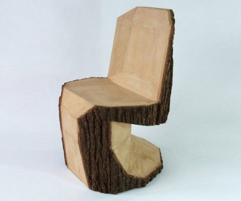Inspired by legendary Danish furniture designer Verner Panton's iconic Panton S chair, Peter Jakubik's Panton DIY is carved from a single log with a chainsaw.