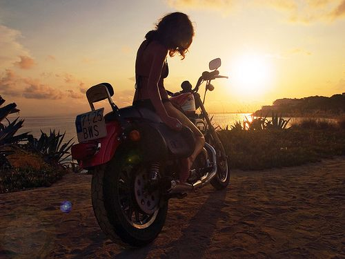Sunset Rider on a 2002 #Harley #Sportster 883R