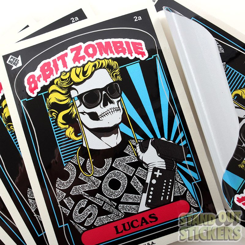 Custom rectangle vinyl stickers with a kiss cut for 8 bit zombie