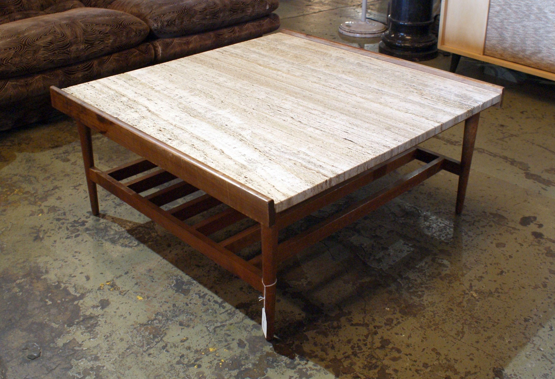Mcm Coffee Table W Travertine Top Coffee Table Mcm Coffee Table Diy Pallet Sofa [ 1852 x 2709 Pixel ]