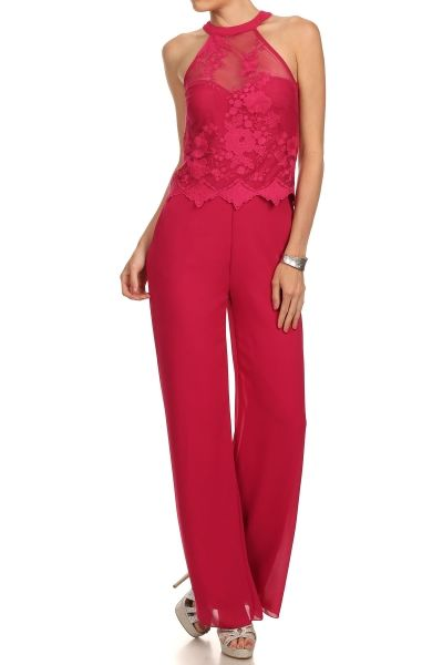 Solid Lace Full Length Jumpsuit