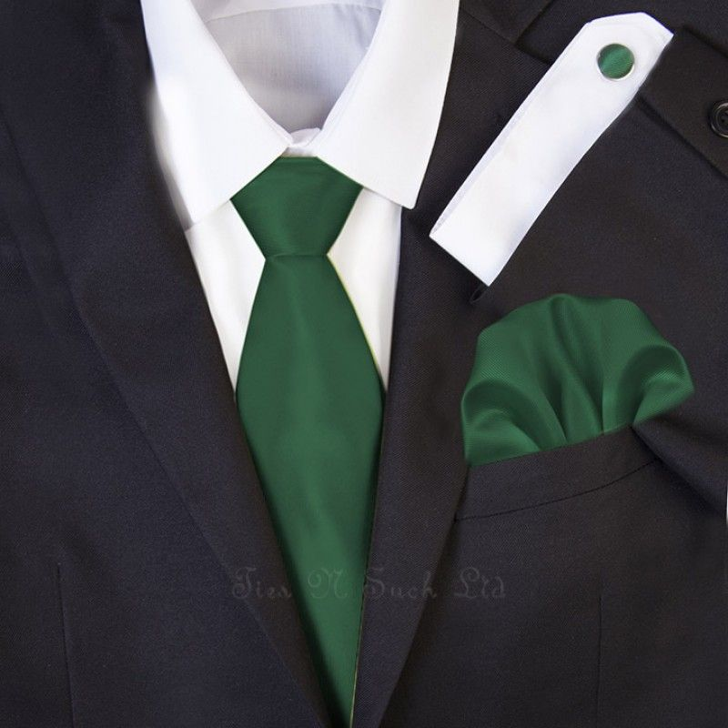 Dark Green Wedding Necktie Set | Solid Formal Tie Sets ...