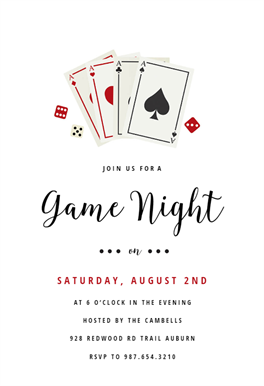 Poker Game Night Sports Games Invitation Template Free Greetings Island Poker Party Invitation Party Invite Template Game Night Parties