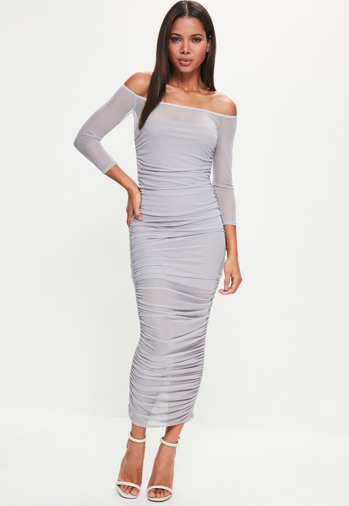 38583f59 Missguided - Lilac Bardot Ruched Mesh Maxi Dress | Fashion | Dresses ...