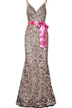 Oscar de la Renta Sequined tulle and silk-chiffon gown by mamie