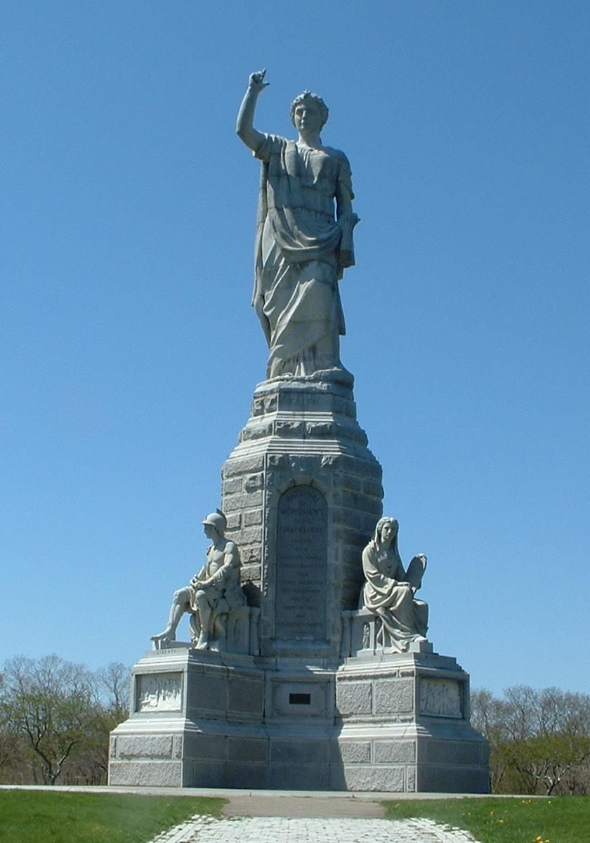 The National Monument To The Forefathers Stands On The Summit Of