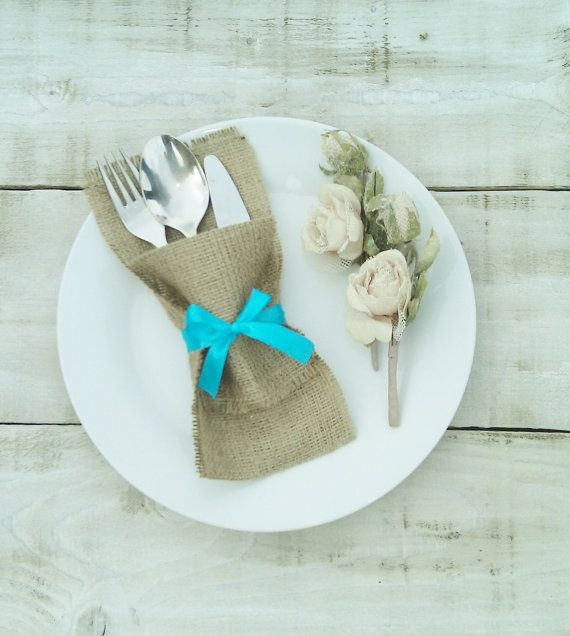 Handmade Burlap Silverware - Cutlery Holders  Our burlap wedding silverware holders are perfect for rustic weddings, special occasions or home