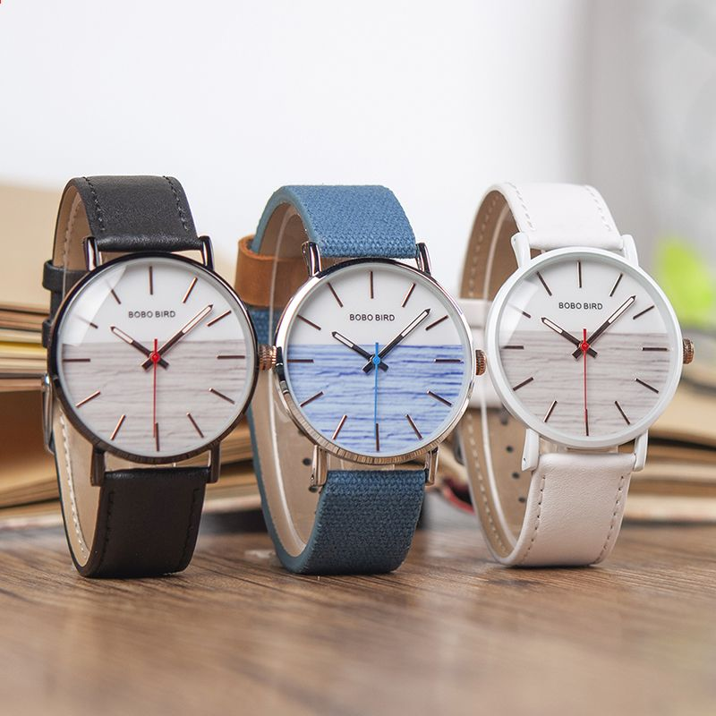 BOBO BIRD kožené kapela náramkové hodinky nový designer stylový luxusní  křemenný hodinky hodinky C-Q16 aab4e4427e4