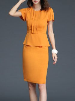 Orange Pleated Short Sleeve Crew Neck Midi Dress