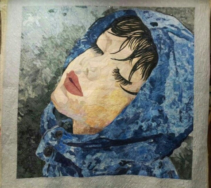 """Enjoying the rain !!"" - quilt by quiltmari (Hyeonjoo sin) : I expressed in quilt the painting of Maria Zeldis ."