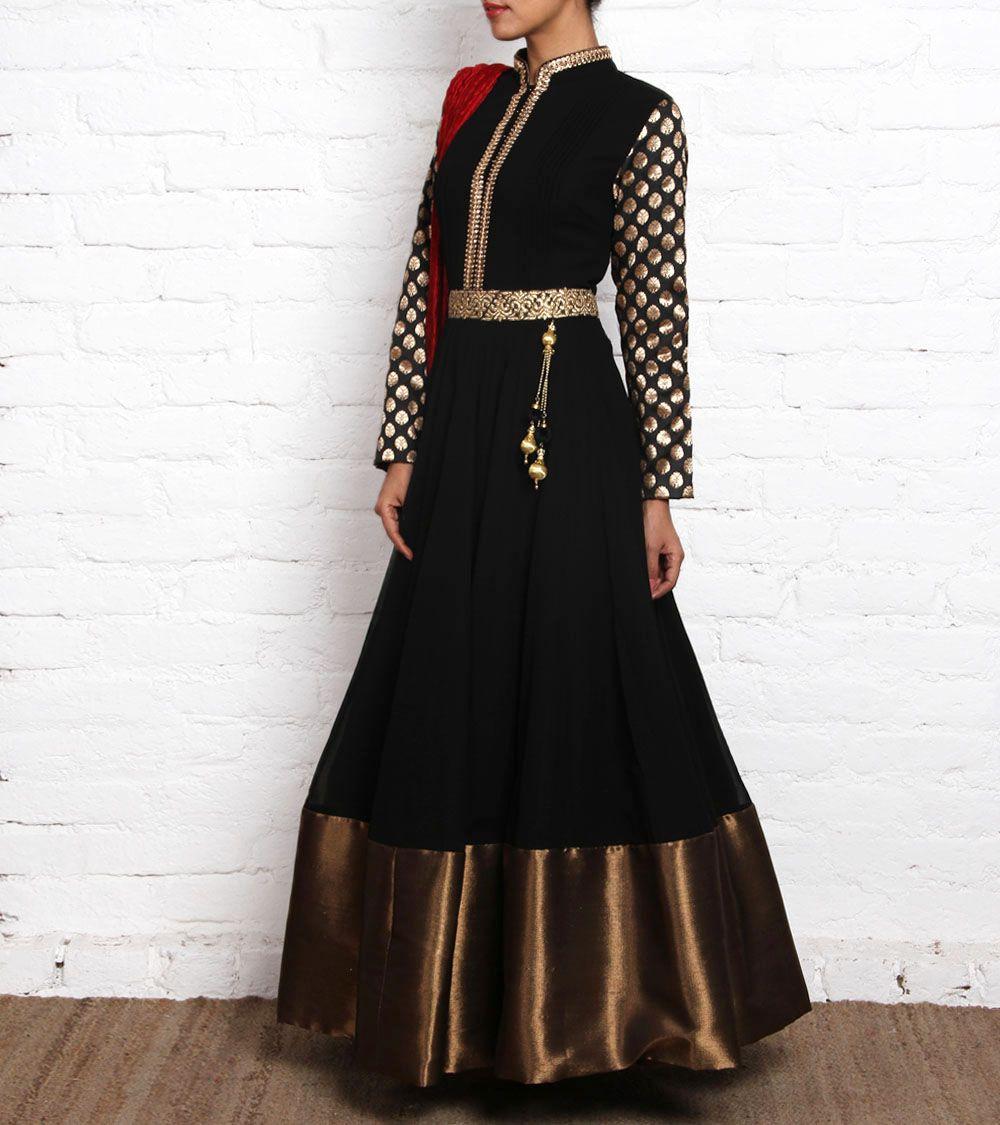 Black Georgette Anarkali Suit With Copper Borders Anarakalis Minimal Floral Emb Crop Trouser Jet Hitam L