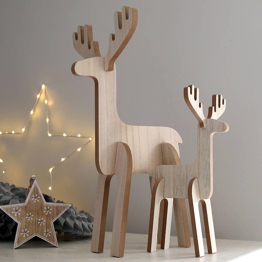Wooden Standing Reindeer Decoration