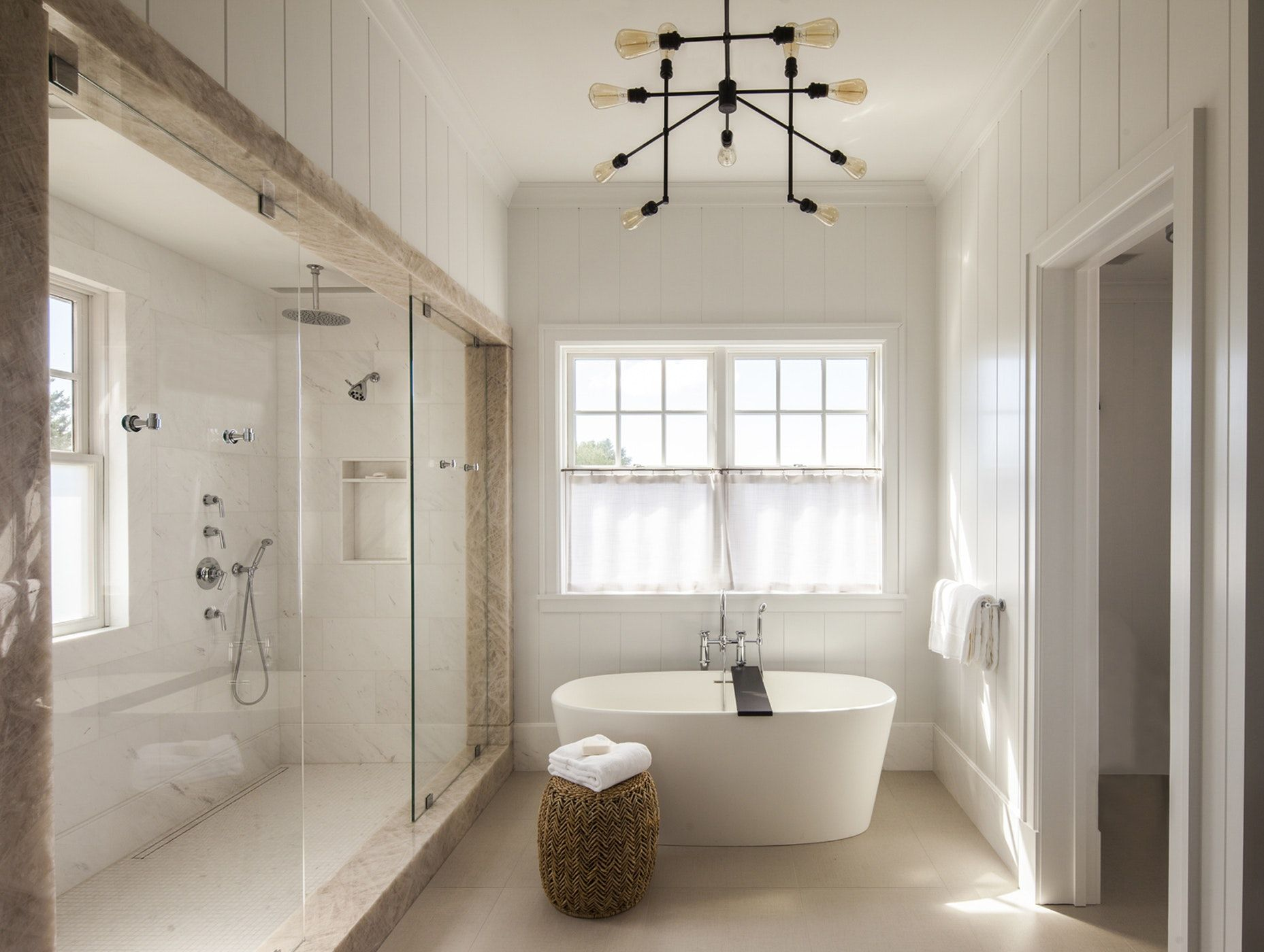 Hamptons Residence Master Bathroom W Neutral Palette Freestanding Tub By Stephens Design Group Free Standing Tub Minimalist Bathroom Design Bathroom Design