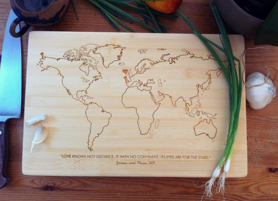 World map personalized cutting board bamboo chopping block custom world map personalized cutting board bamboo chopping block custom engraved unique wedding gift engagement gift gift for couple gumiabroncs Choice Image