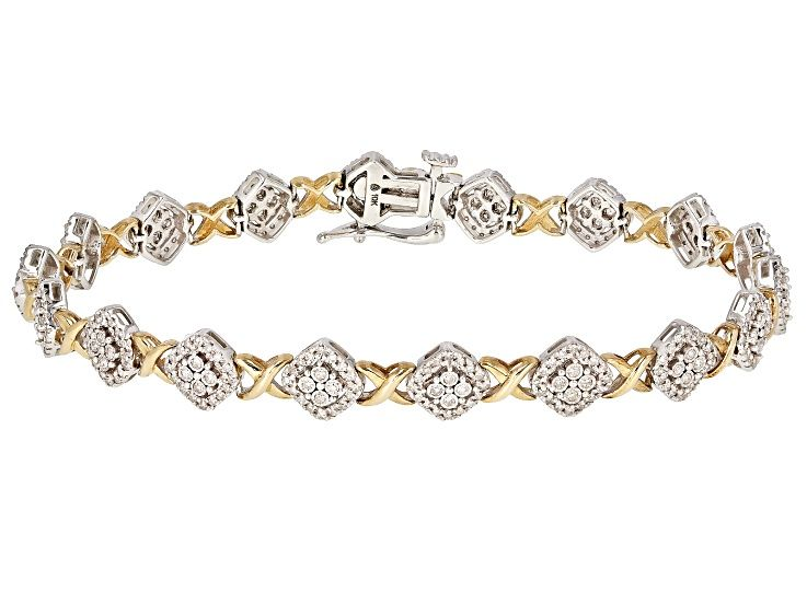 White Diamond 10k Two Tone Gold Bracelet 1 00ctw Dochw6 Bracelet Designs Diamond Gold Bracelet