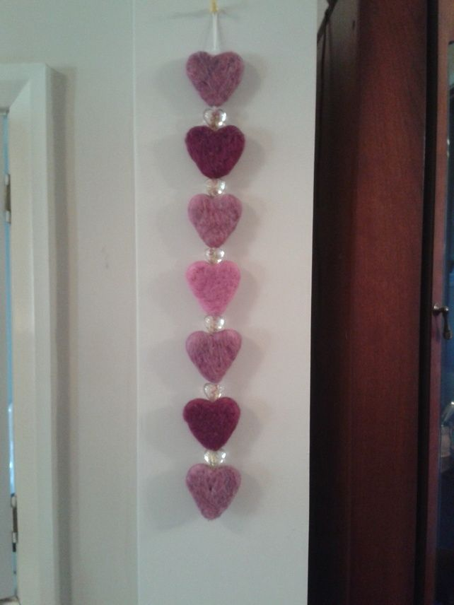 Needle felted hanging hearts (pink) £7.50