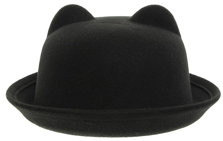 La Vogue Women Cat Ears Cloche Hat Roll Up Brim Bowler Derby Hat (Black)   Amazon.co.uk  Clothing 29c04854c96
