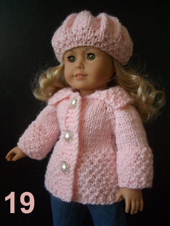 Knitting Pattern For Dolls Coat : EASY Knitting PATTERN AG 18