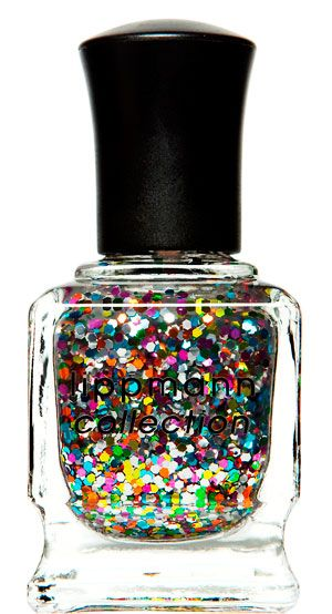 """""""Happy Birthday"""" by Deborah Lippmann.  Call me crazy, but I think this nail polish was worth every penny of the $18 it cost me.  It's like a glitter-gasm for your nails. ($18)"""