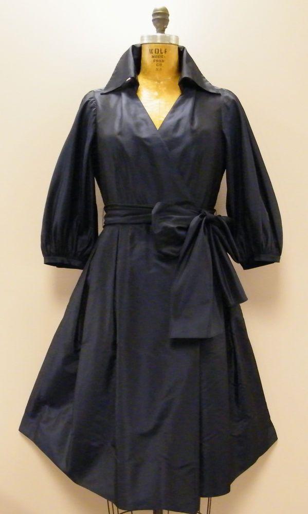 *NWOT* Navy 100% Silk RICKIE FREEMAN Teri John 50s Style Dress Sz 6 Small $495